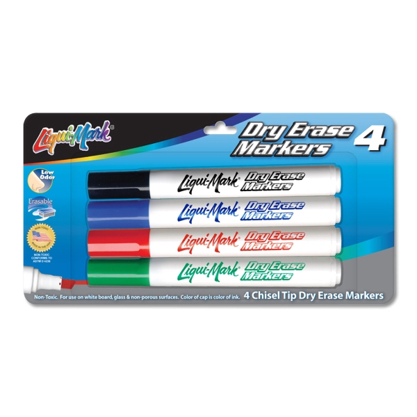 4 Pack Dry Erase Markers - Made in the USA