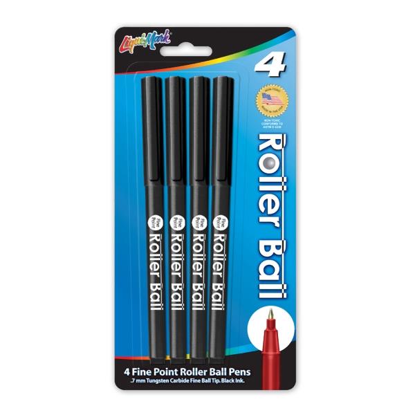 4 Pack of Roller Ball Pens - Black - USA Made
