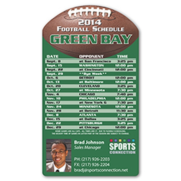 "Football Schedule Magnet, 5 3/4"" X 3 1/4"". Approximately .020 Material Thickness Photo"