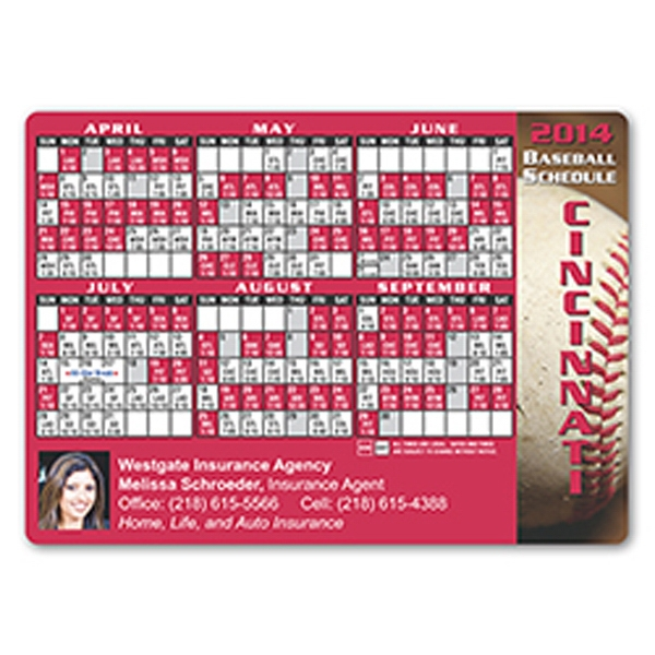 Baseball Schedule Magnet. Approximately .020 Material Thickness Photo