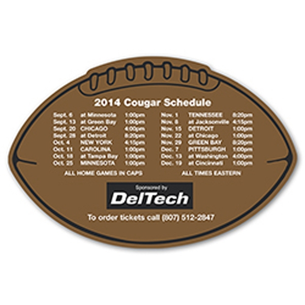"Football Shaped Sports Schedule Magnet, 4 1/4"" X 6 3/8"" Photo"