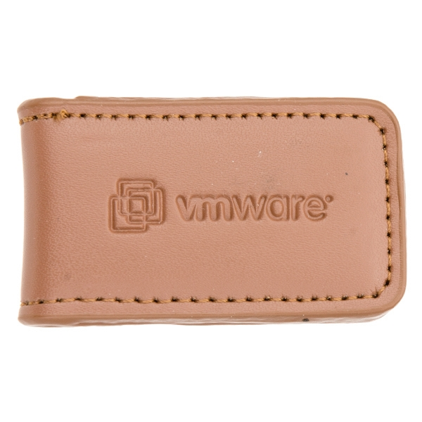 Concord - English Tan - Bi-fold Contemporary Styling Leather Magnetic Money Clip With Tight Stitching Photo
