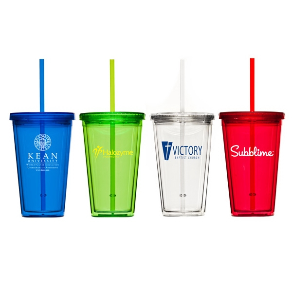 Refresco - Double Wall Acrylic Cup With Colored Straw Photo