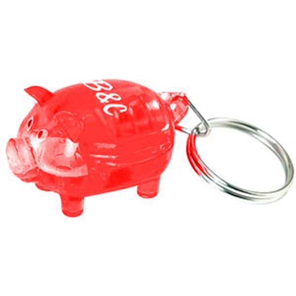 Light Up Pig Keychain Red Piggy Bank White Led