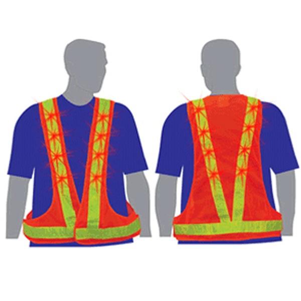 Light Up Safety Vest - Red Flashing LEDs - Orange / Lime - Light up safety vest with red flashing LEDs, orange with lime stripe.