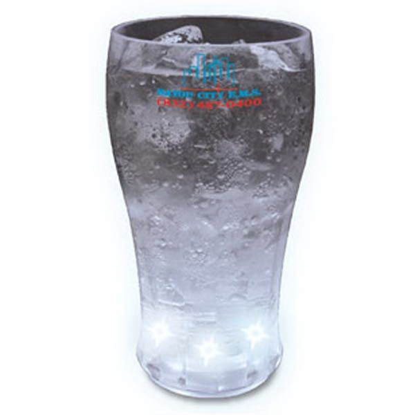 Light Up Glass - Cola - 12 oz - 5 White LEDs - Light up 12 oz. cola glass with 5 white LED lights. Blank.