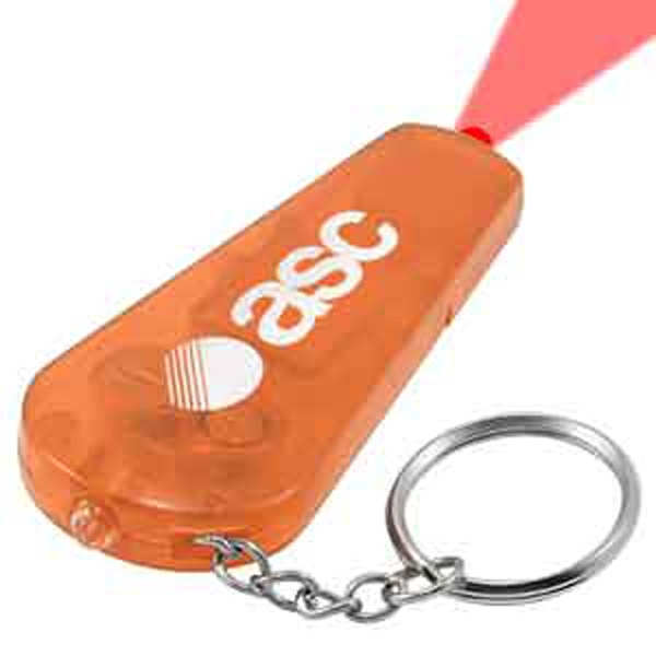 Orange Keychain Light - Whistle - Orange key chain with red LED and whistle.