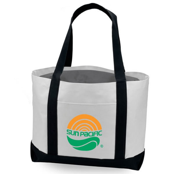 "Two Tone 600d Polyester Tote With Front Slip Pocket And 22"" Fabric Handles Photo"