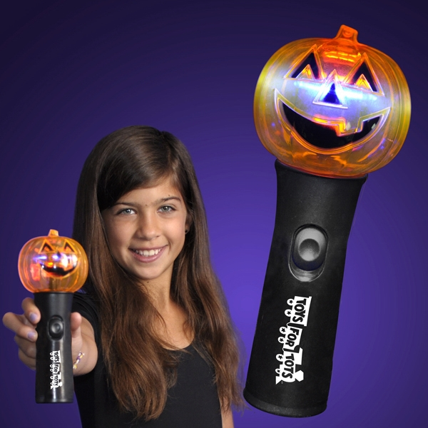 Pumpkin Fun Halloween Wand With Spinning Lights