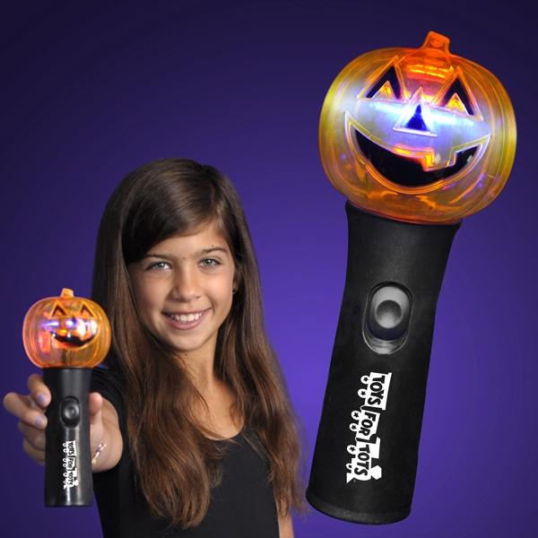 Pumpkin Fun Halloween Wand With Spinning Lights