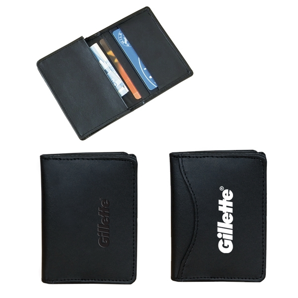 Bonded Leather Business Card Holder With Three Business Card Pockets Photo