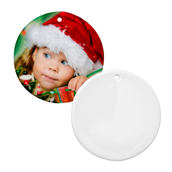 "Sublimation Ornament Is Our Most Popular Holiday Promotional Item, 3"" Round Photo"