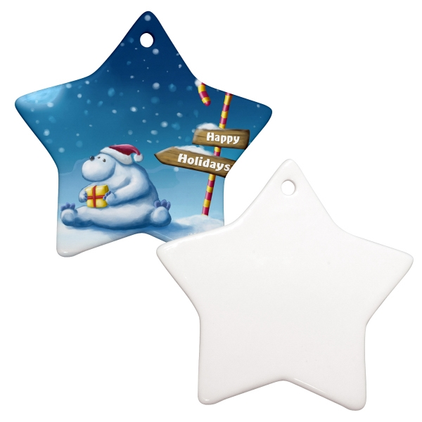 "Sublimation Ornament Is Our Most Popular Holiday Promotional Item, 3"" Star Photo"
