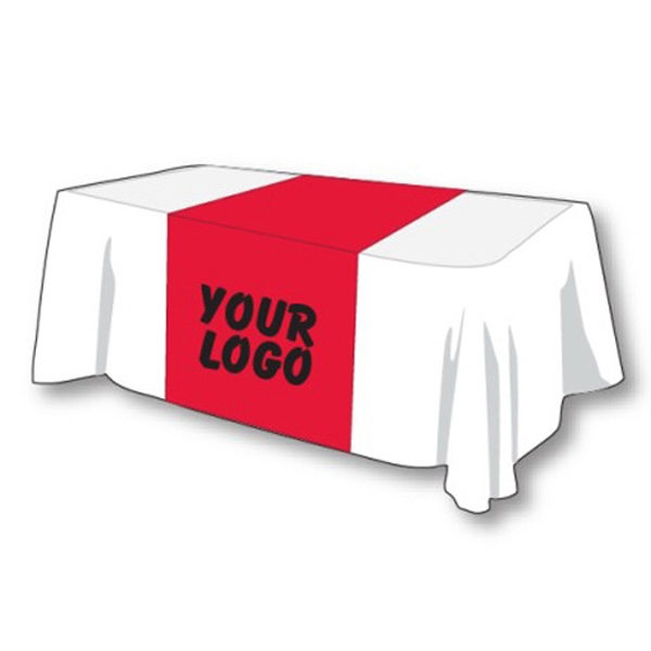 """Table Runner 1 Color Custom Logo Red - Polyester table runner 42"""" x 88"""" perfect for an 8' table."""