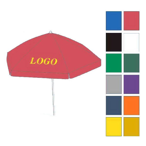 Beach umbrella - Round market umbrella great for patios with aluminum and steel frame.