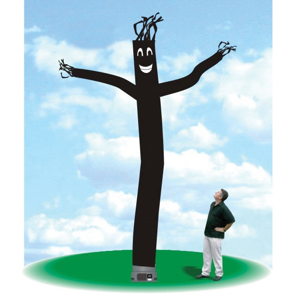 "Inflatable Dance Tube Balloon 18' Tall Tube Fly Guy Black - Dance Tube Balloon 18' tall black tube guy with one 18"" blower."