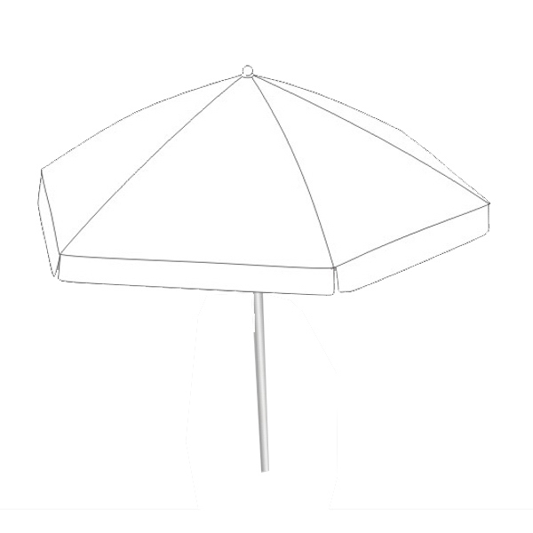 Beach umbrella - Round market patio umbrella with aluminum and steel frame.