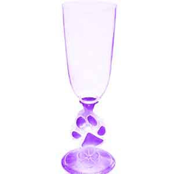 Light Up Champagne Glass - 7 oz - Paw Stem -  Purple LED - Purple 7 oz. champagne glass with paw stem and LED light. Blank.
