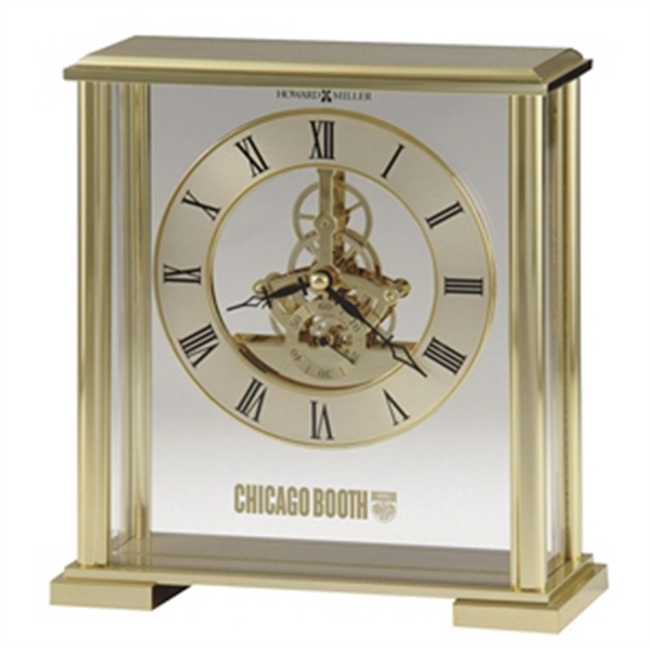 Fairview - Brass Finished Metal Clock With Glass Front And Side Panels, Visible Movement Photo