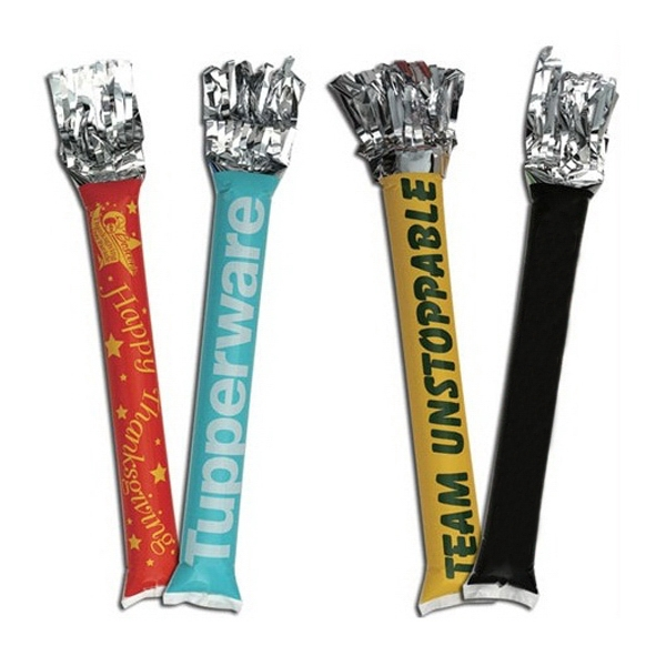 "Pom Bang Stick w/ 1 Spot Color-Priority Production - Cheering sticks, tube noisemakers with Pom, 23.5"" x 4.25"" + 7.5"" Streamers"