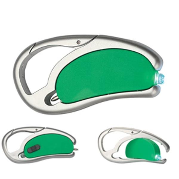 Light Up Carabiner - Pen - LED - Green - Green light up carabiner pen with LED. Blank.
