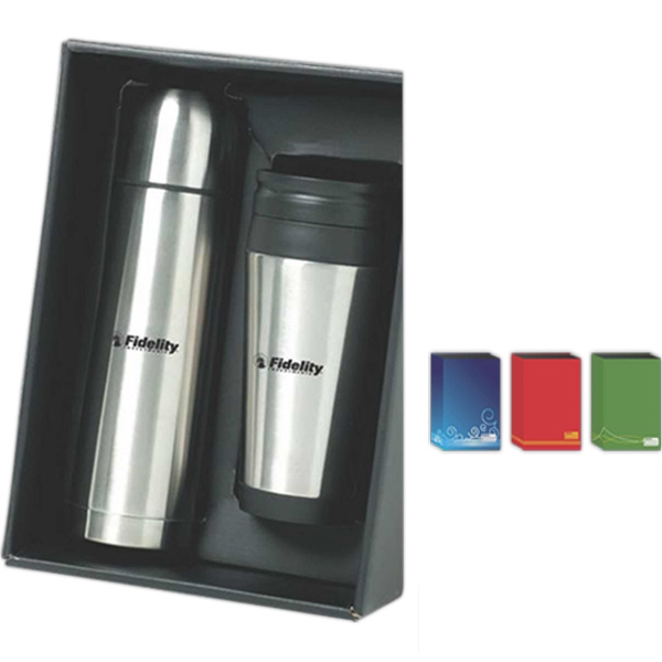 The On The Go - Double Walled Stainless Steel Flask And Double Walled Tumbler Gift Set Photo