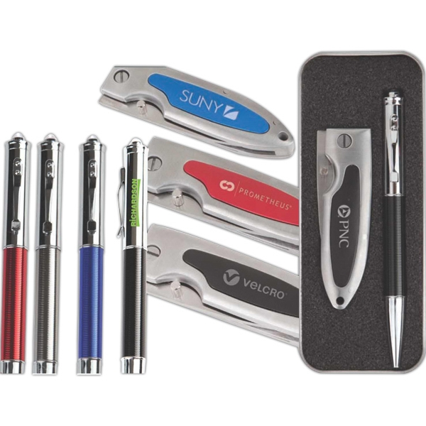 The Decisive;the Dome Pen;the Everyman - Compact And Practical Tools In An Aluminum Tin Photo