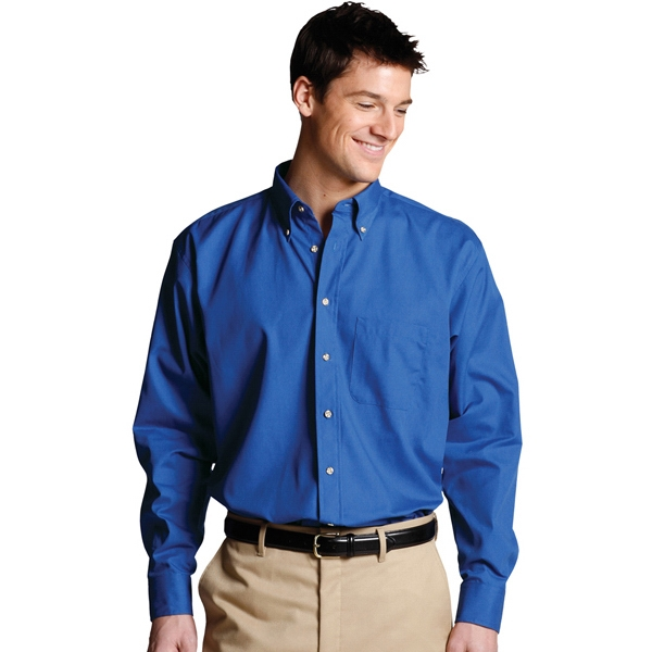S- X L - Men's Easy Care Long Sleeve Poplin Shirt Photo
