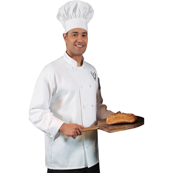 5 X L-6 X L - White - Classic 10 Knot Button Chef Coat Photo