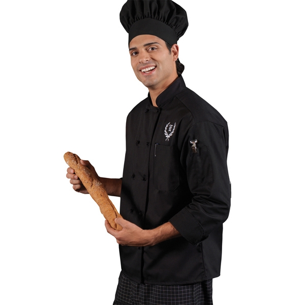 5 X L-6 X L - Black - Classic 10 Knot Button Chef Coat Photo