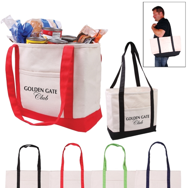 Cotton Boat Tote With Spacious Main Compartment And Front Pocket Photo
