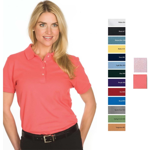 White -  X S -  X L - Ladies' 6.8 Oz/ 230gsm 100% Cotton Pique Knit Superior Polo Photo