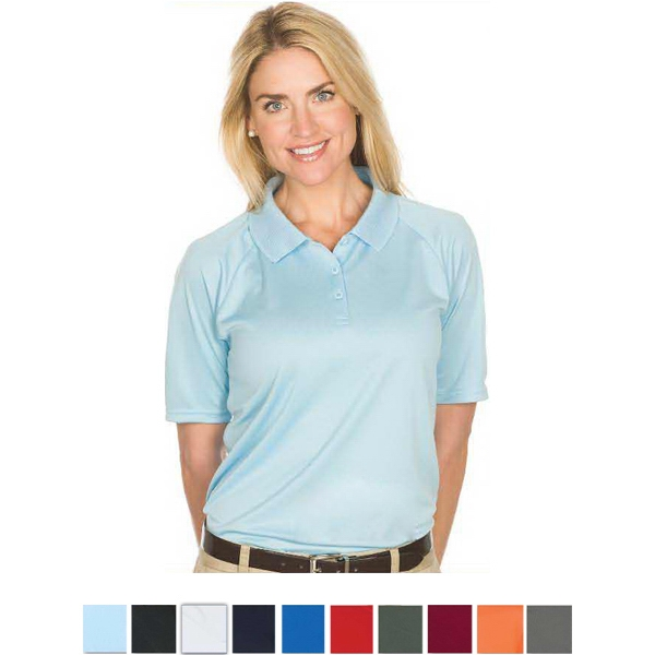 Team - White -  X S -  X L - Ladies' 4.3 Oz/145gsm 100% Polyester Knit Polo Photo