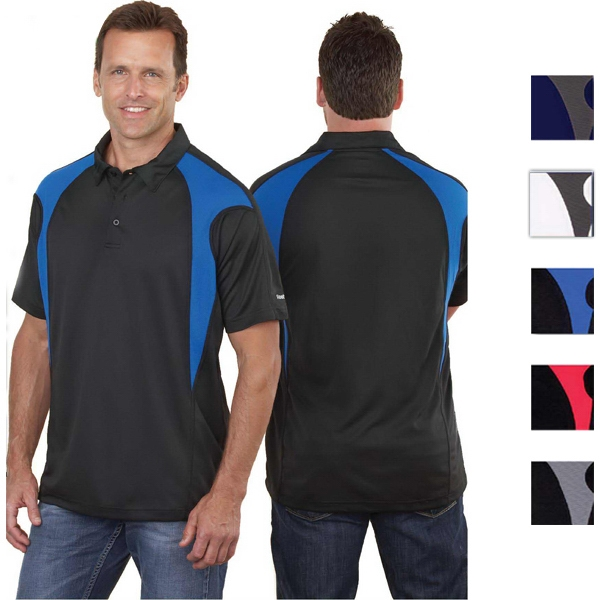 Reebok (r) Prism (r) - Black-royal - S -  X L - 4.3 Oz/ 142gsm 100% Polyester Polo Photo