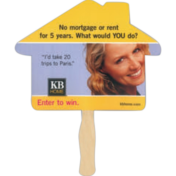 Stock Shape House Hand Fan With Wood Handle ( Wood Stick) Attached With Adhesive Photo
