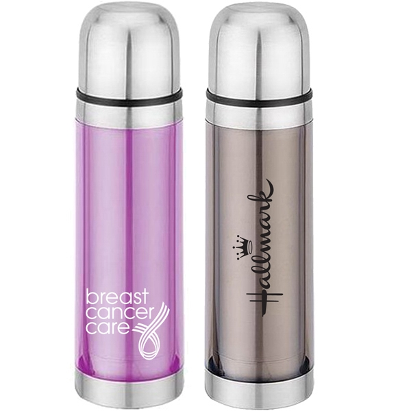 Stainless Steel 17 Oz. Water Bottle With Push Button, Pour Spout. Pink Or Smoke Photo