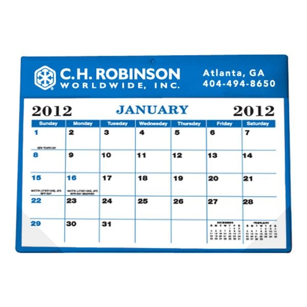 "Black And Blue Calendar Colors - Desk Calendar Pad With Vinyl Header And Backing, 11 1/2"" X 8 3/4"" Photo"