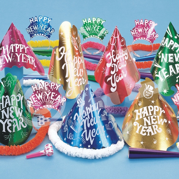 Happy New Year Metallic Cabaret Party Kit for 50