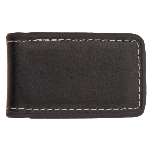 Concord - Black - Bi-fold Contemporary Styling Leather Magnetic Money Clip With Tight Stitching Photo