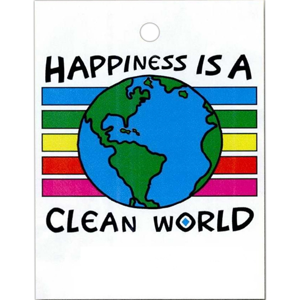 "Happiness Is A Clean World - Stock Design Single Wall 9"" X 12"" Litter Bag With Front Opening Photo"