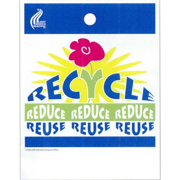 "Recycle Reduce Reuse - Stock Design Single Wall 9"" X 12"" Litter Bag With Front Opening Photo"