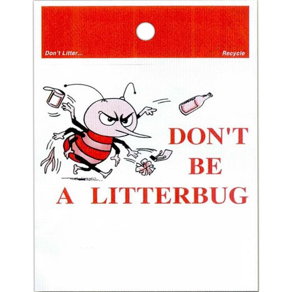 "Don't Be A Litterbug - Stock Design Single Wall 9"" X 12"" Litter Bag With Front Opening Photo"