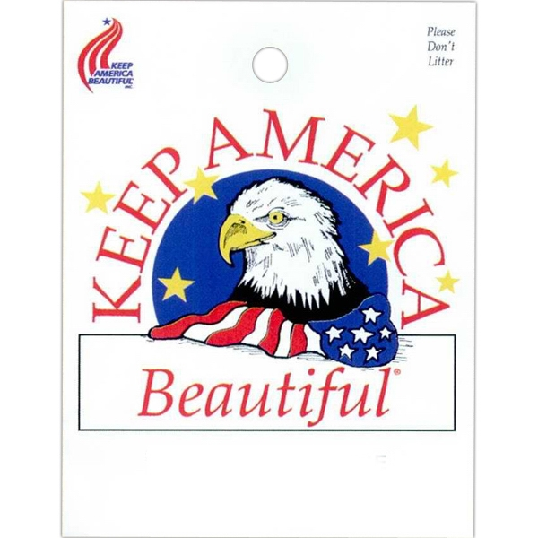 "Keep America Beautiful And Eagle Design - Stock Design Single Wall 9"" X 12"" Litter Bag, Front Opening And Political Design Photo"