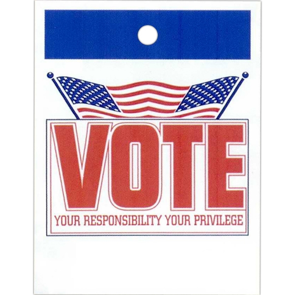 "Vote Your Responsibility Your Privilege And Flag Design - Stock Design Single Wall 9"" X 12"" Litter Bag, Front Opening And Political Design Photo"