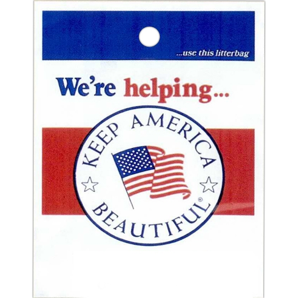"We're Helping Keep America Beautiful - Stock Design Single Wall 9"" X 12"" Litter Bag, Front Opening And Political Design Photo"