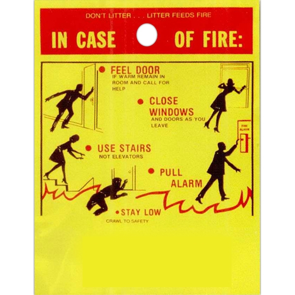 "In Case Of Fire With Safety Tips - Stock Design Single Wall 9"" X 12"" Litter Bag With Front Opening, Safety Design Photo"