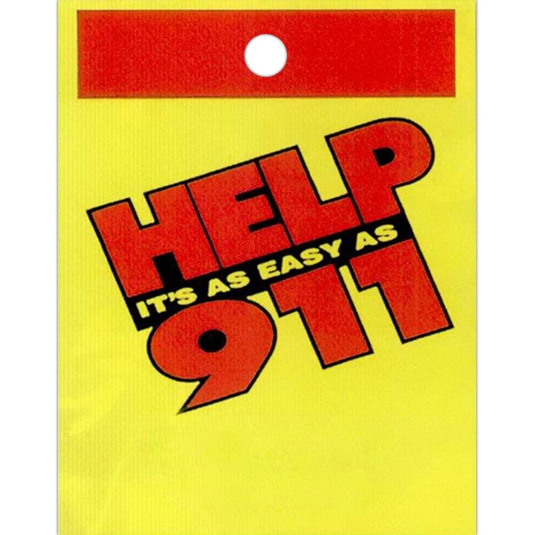 "Help It's As Easy As 911 - Stock Design Single Wall 9"" X 12"" Litter Bag With Front Opening, Safety Design Photo"