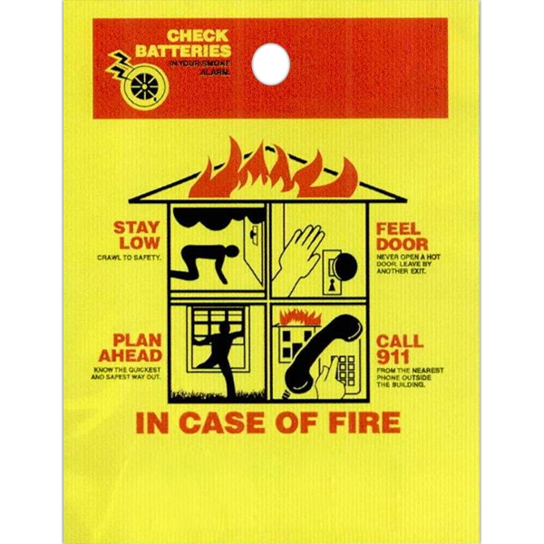 "In Case Of Fire With House Design And Safety Tips - Stock Design Single Wall 9"" X 12"" Litter Bag With Front Opening, Safety Design Photo"