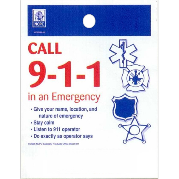 "Call 9-1-1 In An Emergency - Stock Design Single Wall 9"" X 12"" Litter Bag With Front Opening, Safety Design Photo"