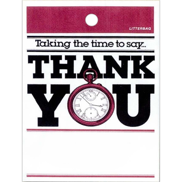 "Taking The Time To Say Thank You With Pocket Watch Design - Stock Design Single Wall 9"" X 12"" Litter Bag, Customer Appreciation Theme Photo"